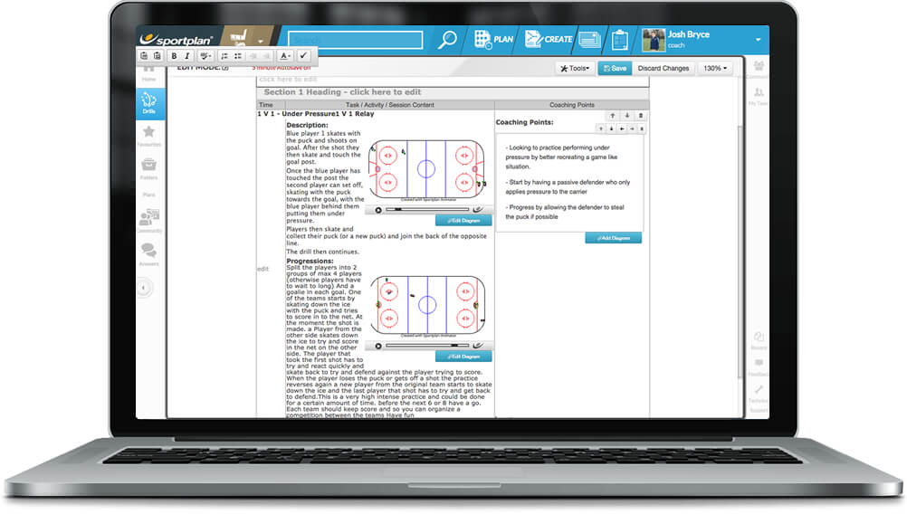 Ice Hockey Session Planner