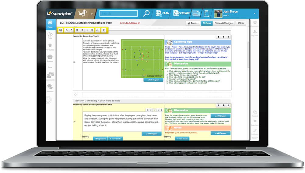Rugby League Session Planner