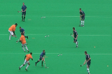 Use footwork to create space (reverse)2 v 1Hockey Drills Coaching