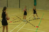 Out and in to receive the ball in the middleBall skillsNetball Drills Coaching