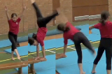 Wheeling kicks around end of apparatusKey 2 content WheelsGymnastics Drills Coaching
