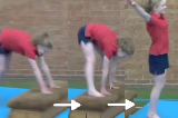 Straddle vault on to low apparatus with a jump offKey 2 content ApparatusGymnastics Drills Coaching