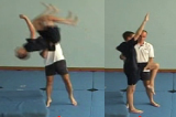 Lifting from Lower back and Flexed knee to exit with a Backward somersault.Key 5 Partner LiftingGymnastics Drills Coaching