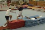 higher step up into half twist to handstand: half twist to flatbacktwist cart wheelGymnastics Drills Coaching