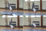 Donkey kicks on a matKey 3 HandstandGymnastics Drills Coaching