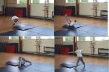 Pike counterbalance entry into backward roll down low incline.Key 3 Backwards rollGymnastics Drills Coaching