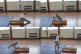 Pike counterbalance entry into backward roll along box..Key 3 Backwards rollGymnastics Drills Coaching